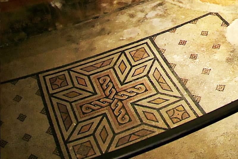 Roman mosaic from an underground site in Verona